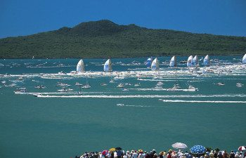 View of Rangitoto during Yacht Race Season