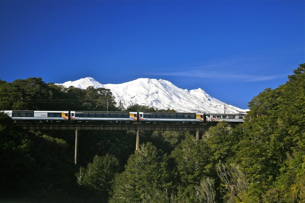 Tranz Scenic - Northern Explorer with Mt Ruapehu