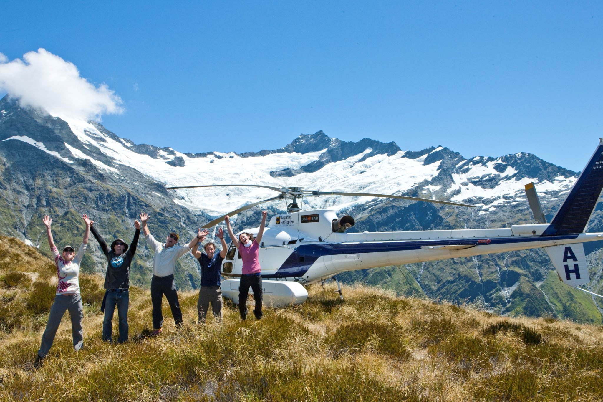 Enjoying a helicopter trip up onto the glacier in Mount Aspiring National Park