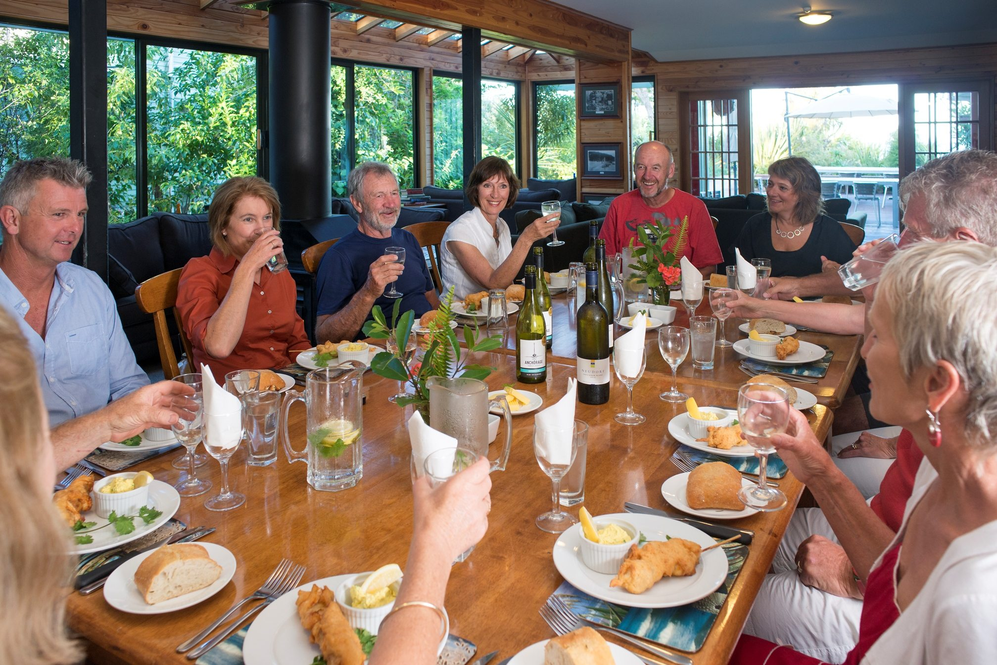 Dinner with new friends at Torrent Bay in the Abel Tasman National Park.