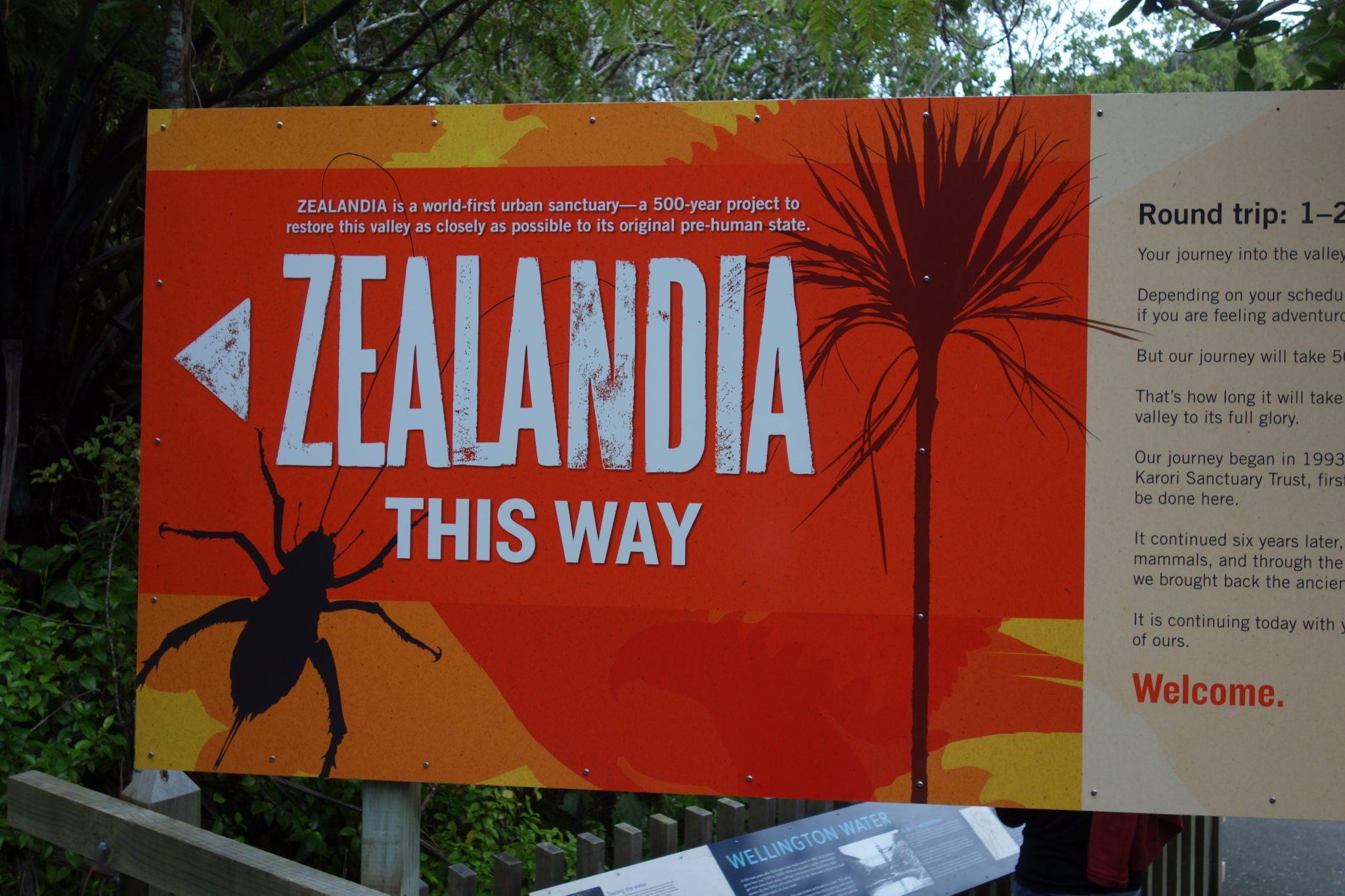 Zealandia entrance sign
