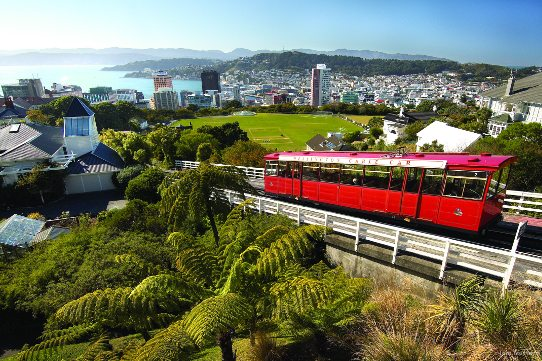 Shot of the Wellington Cable Car looking out from the top