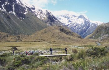 Routeburn-Track-Walkers-Crossing-Bridge