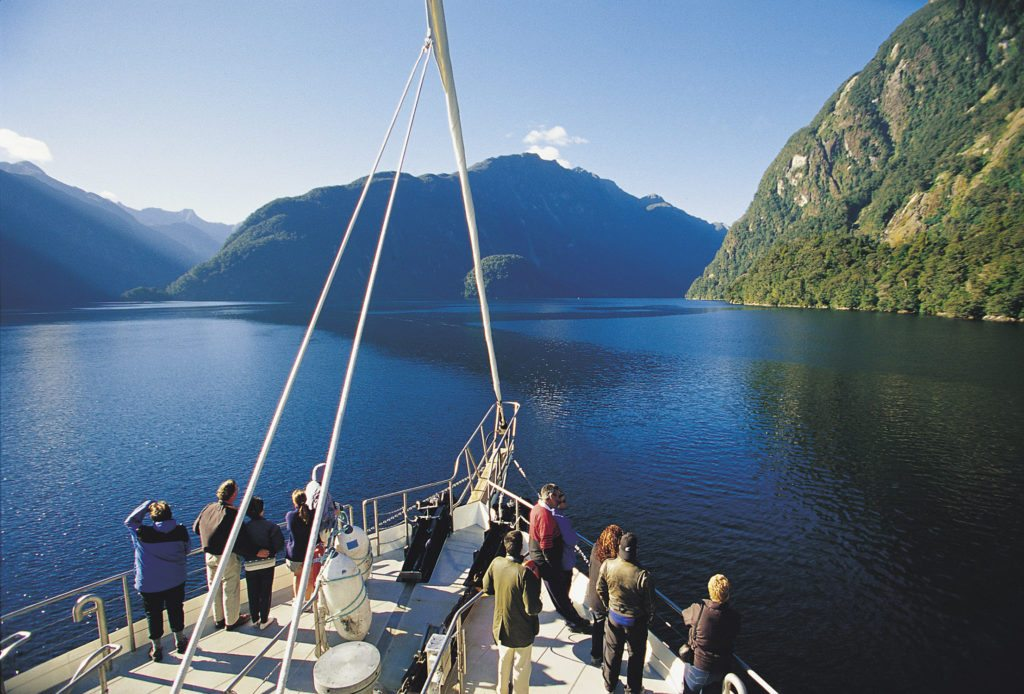 View of the Doubtful Sound from the deck of a cruiseship