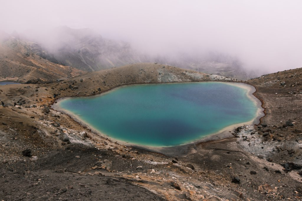 Views down to the lake in the centre of the Tongariro Alpine Crossing