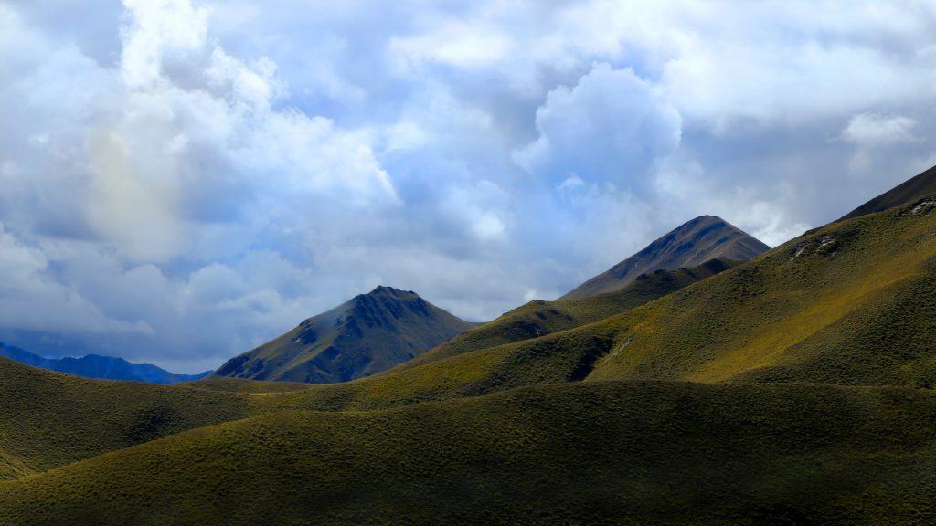 View of the mountains from the Lindis Pass in New Zealand