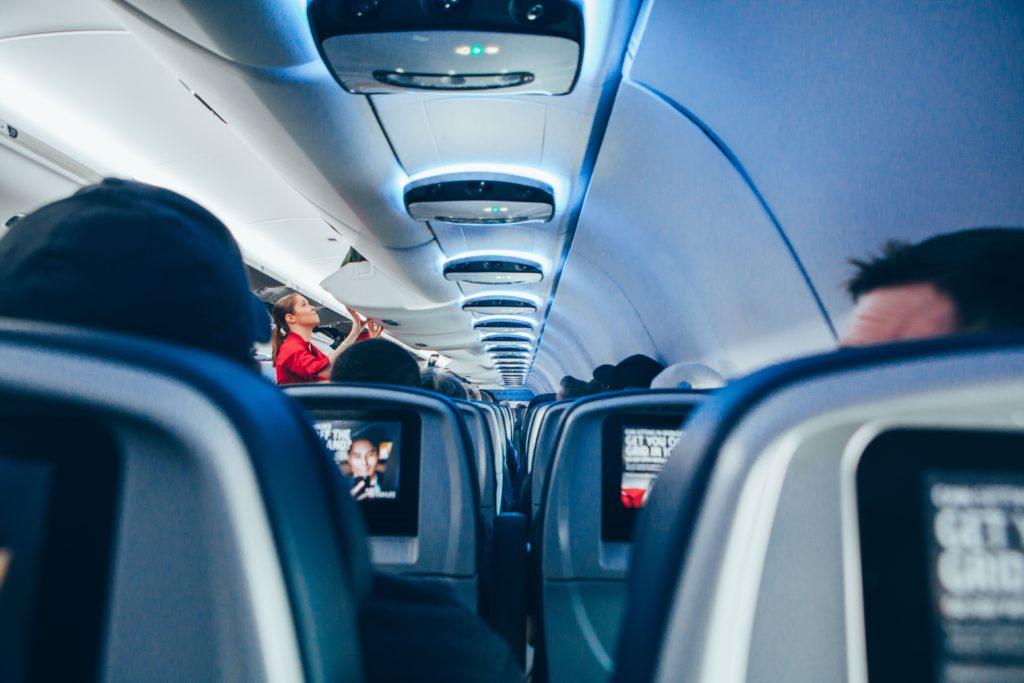 View between plane seats
