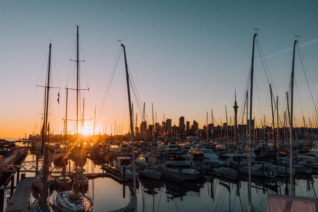 Sunset over Auckland Harbour