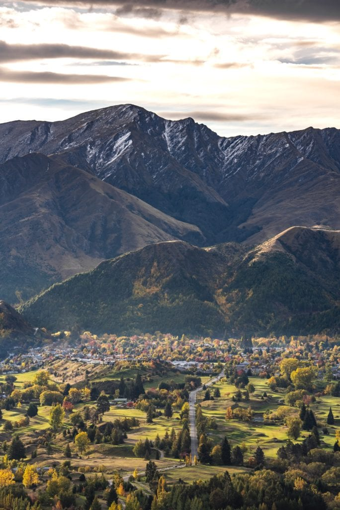 Aerial view of Arrowtown looking out towards the mountains