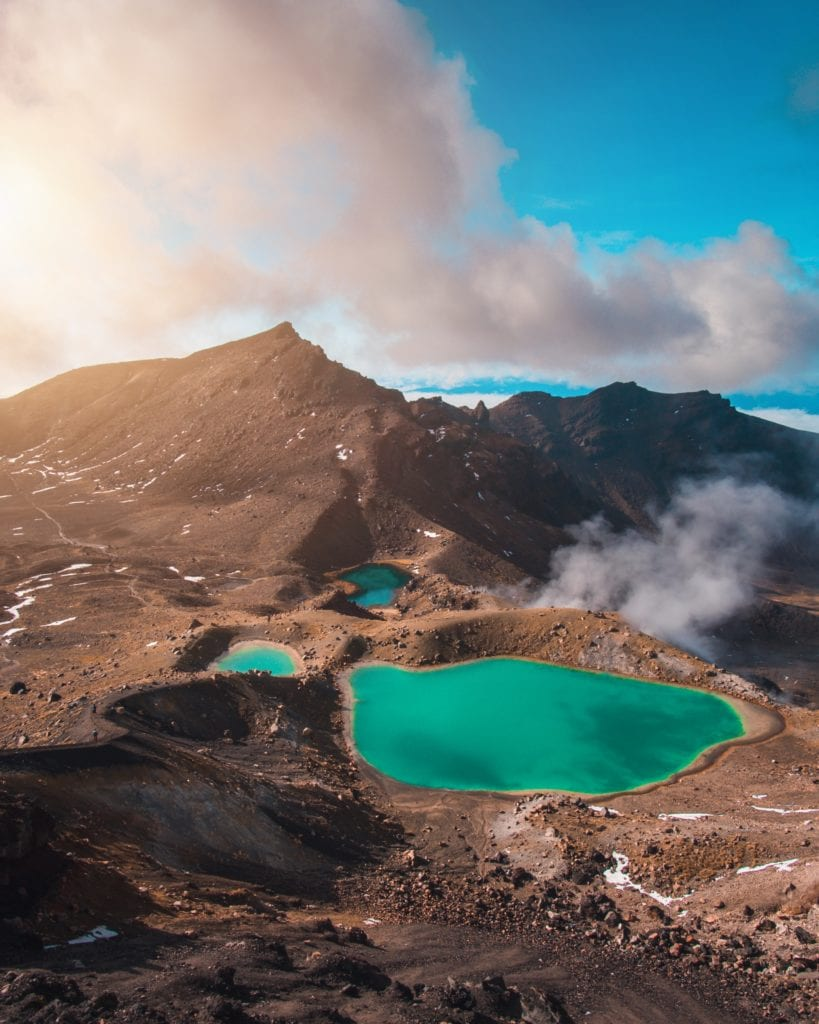 View across the Tongariro Alpine Crossing looking towards mountains and over the blue lagoons