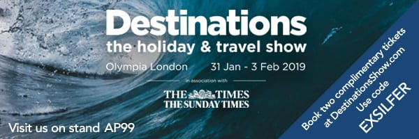 Free tickets to the Destinations Travel and Holiday Show 2019