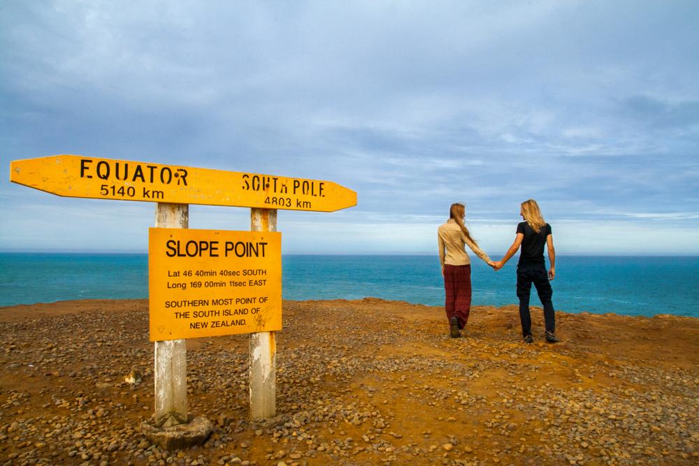 Slope Point Equator Sign - The Catlins - Silver Fern Holidays
